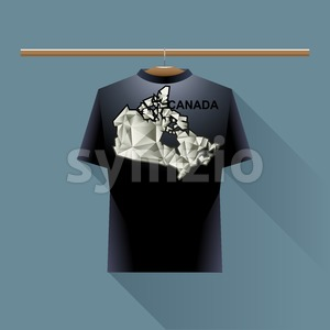 Black shirt with canada logo country on a hanger in wardrobe over blue background. Digital vector image. Stock Vector