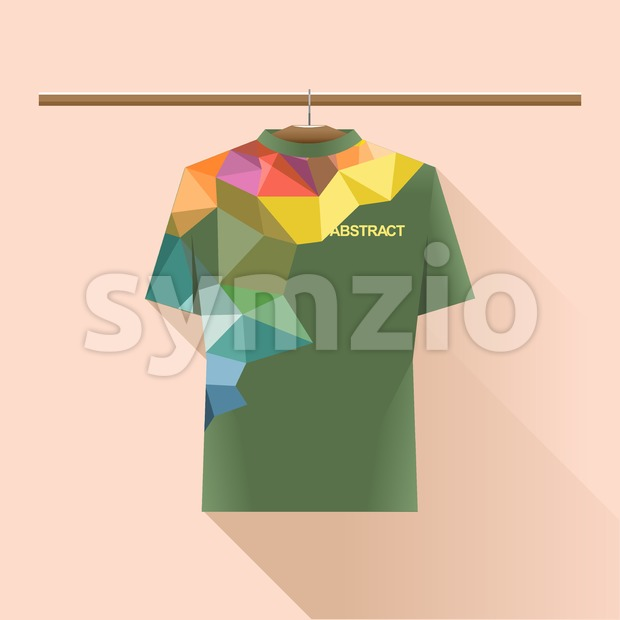 Abstract shirt with colored logo with triangles on a hanger in wardrobe over light peach background. Digital vector image