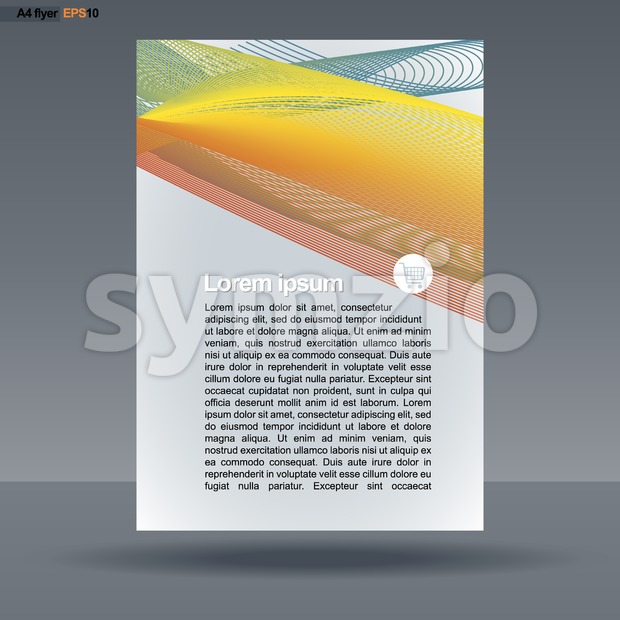 Abstract print A4 design with colored lines for flyers, banners or posters, with basket icon, over silver background. Digital vector image. Stock Vector