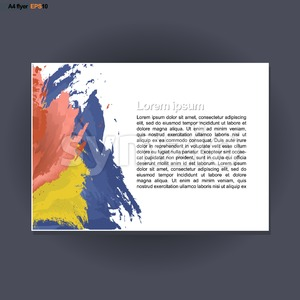 Abstract print A4 landscape design with blue, red and yellow brush strokes, for flyers, banners or posters over silver background. Digital vector Stock Vector