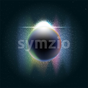 Futuristic planet earth in 3d in space full of stars, rising sun with colored light and sparkle. Digital vector image Stock Vector