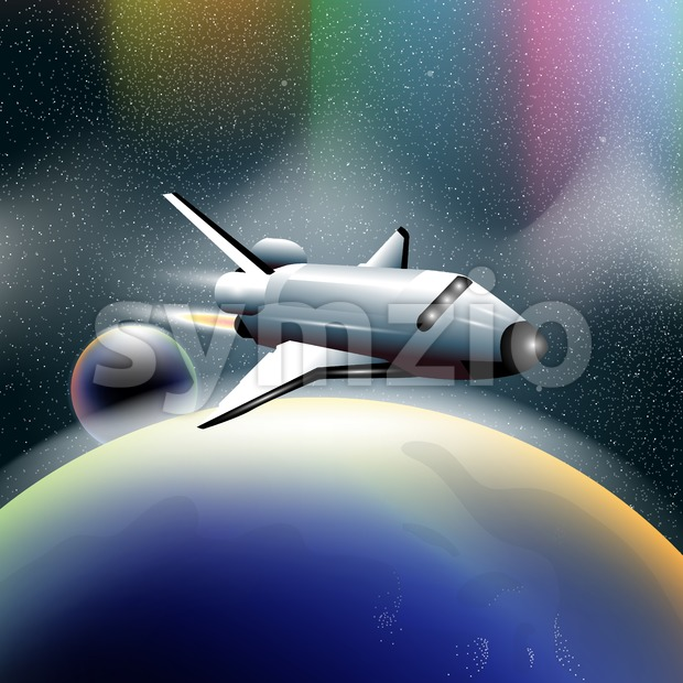 Shuttle in space flying from planet earth, orbiting a blue planet. Digital vector image. Stock Vector