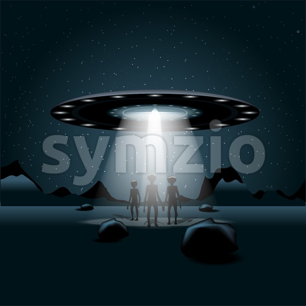 Aliens on a planet, a flying unidentified ship with light over a background with dark space and glowing stars. Digital vector image Stock Vector