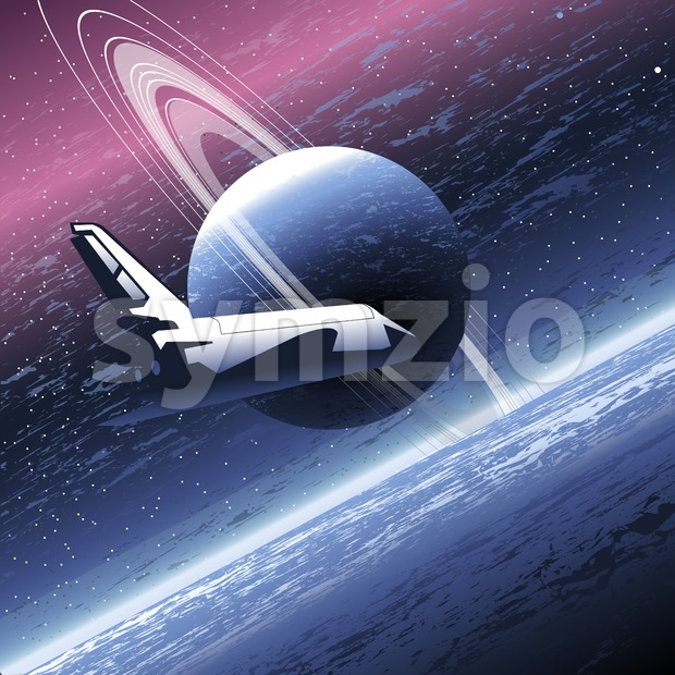 Shuttle in space orbiting a big planet with many rings. Digital vector image. Stock Vector
