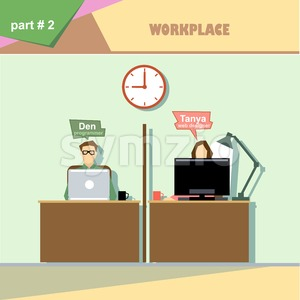 Business company roles situation infographics with web designer and programmer at their workplace. Digital vector image Stock Vector
