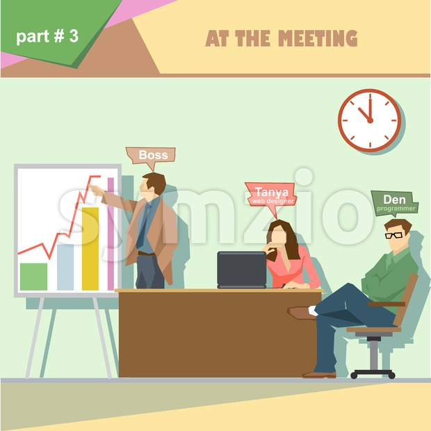Business company roles situation infographics with boss, web designer and programmer in a meeting at work. Digital vector image