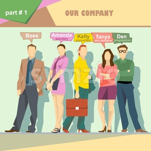 Business company roles situation infographics with boss, secretary, accountant, web designer and programmer. Digital vector image Stock Vector