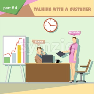 Business company roles situation infographics with boss and talking with a customer and secretary at work. Digital vector image Stock Vector