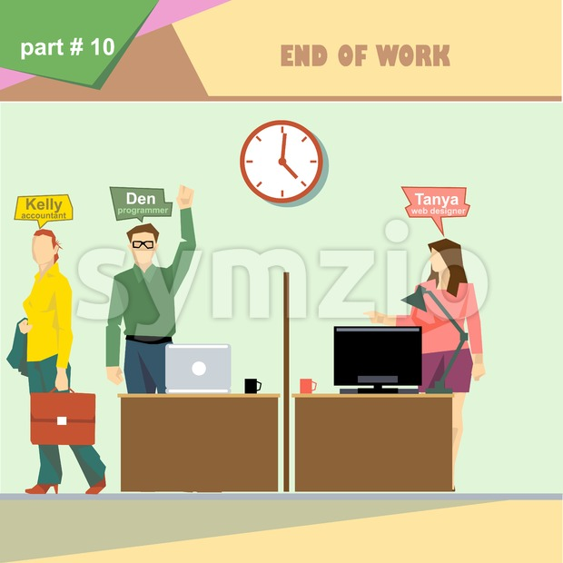 Business company roles situation infographics with accountant, programmer and web designer at the end of the day at work. Digital ...