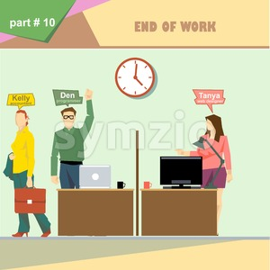 Business company roles situation infographics with accountant, programmer and web designer at the end of the day at work. Digital vector image Stock Vector