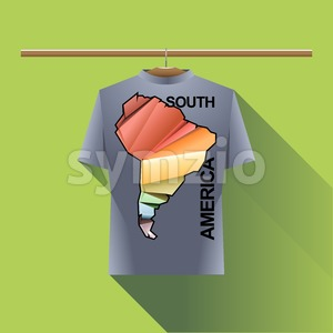 Abstract silver shirt with south america colored logo with triangles and text on a hanger in wardrobe over green background. Digital vector image Stock Vector