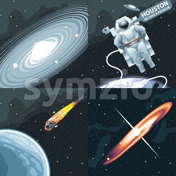Astronaut in spacesuit flying in space and calling for Houston. Background with stars, planets and galaxies. Digital vector image. Stock Vector