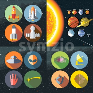 Solar system. Sun and planets of the milky way galaxy. Mercury, venus, earth, mars, jupiter, saturn, uranus, neptune and pluto. Digital vector image. Stock Vector