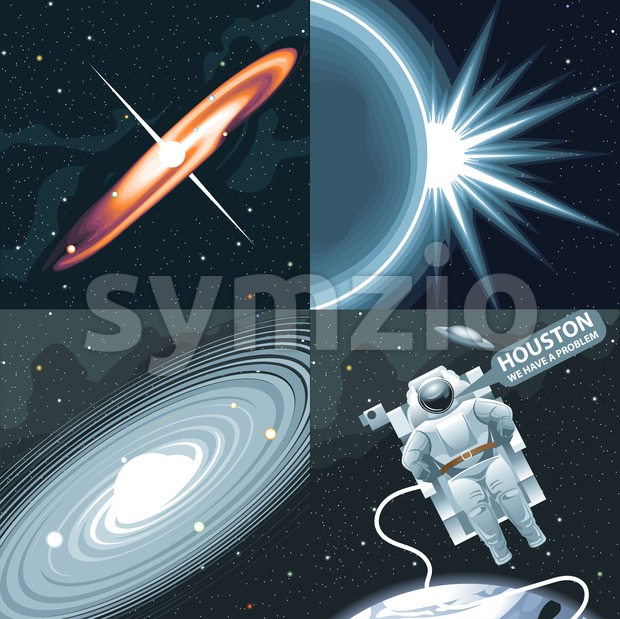 Astronaut in spacesuit flying in space and calling for Houston. Background with stars, planets and galaxies. Digital vector image.