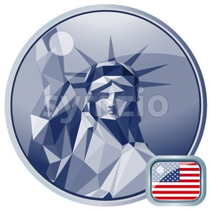 Fourth of july independence day card, with statue of liberty. Digital vector image Stock Vector
