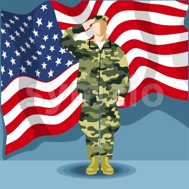 Happy fourth of july America, independence day card, with an army soldier and flag. Digital vector image Stock Vector