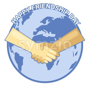 Happy friendship day card. 4 August. Best friends, two shaking hands symbol over map of world backdrop. Digital vector image Stock Vector