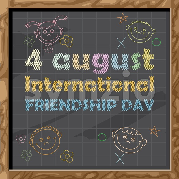 Happy friendship day card. 4 August. Hand drawn text and icons with chalk on black board with a grid. Digital vector image Stock Vector