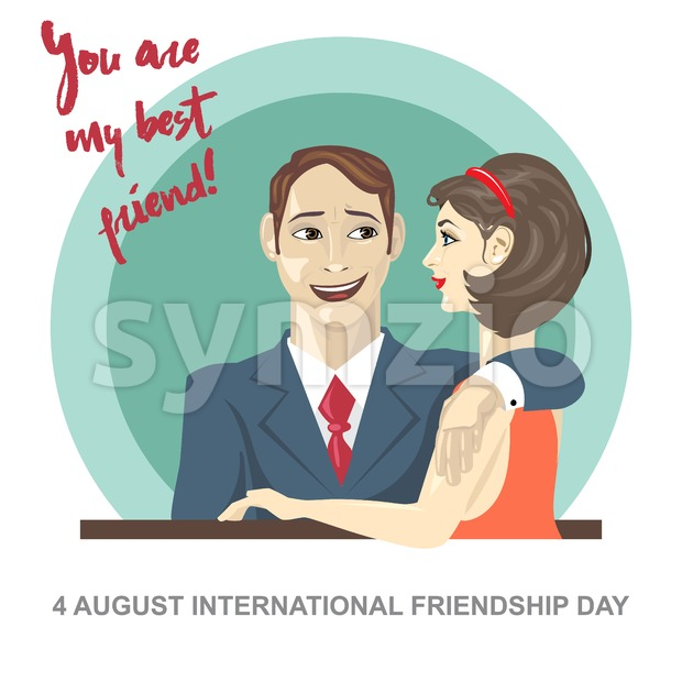 Happy friendship day card. 4 August. Best friends woman and man embracing. Digital vector image Stock Vector