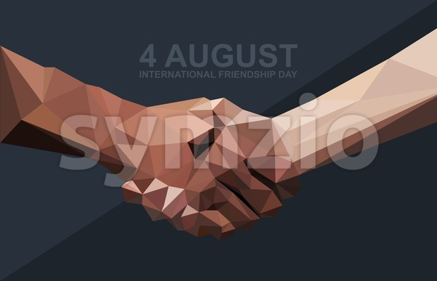 Happy friendship day card. 4 August. Best friends, two shaking hands symbol. Digital vector image