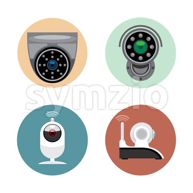 Surveillance recording security camera set flat style. Remote controled cand stationary devices. Digital vector image Stock Vector