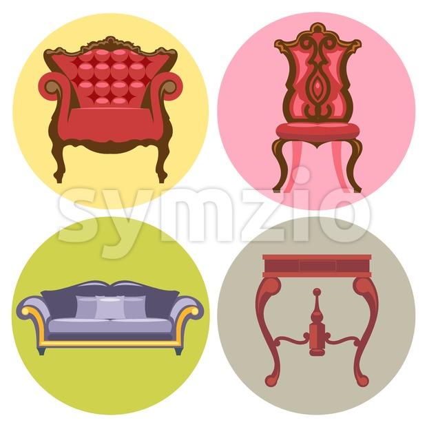 Furniture set flat style. Sofa, chair, table, bed. Digital vector image Stock Vector