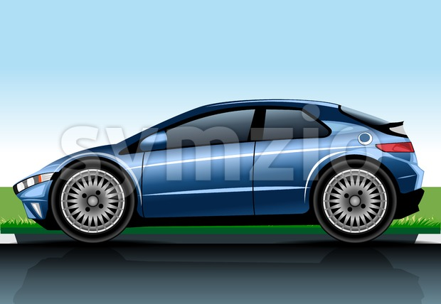 Big blue realistic car model. Digital vector image