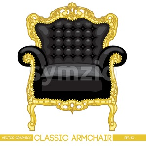 Black and yellow classic armchair over white background. Digital vector image Stock Vector