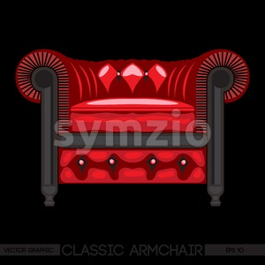 Red classic armchair over black background. Digital vector image Stock Vector