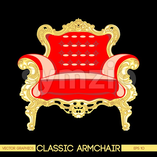 Red and yellow classic armchair over dark background. Digital vector image Stock Vector