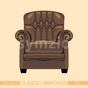 Brownclassic armchair over light background. Digital vector image Stock Vector
