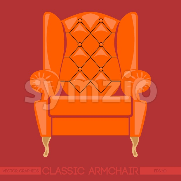 Orange classic armchair over red background. Digital vector image Stock Vector