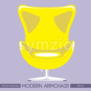 Yellow modern armchair over pink background. Digital vector image Stock Vector