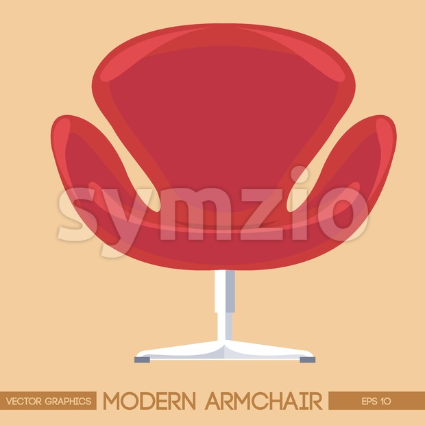 Red modern armchair over peach background. Digital vector image Stock Vector
