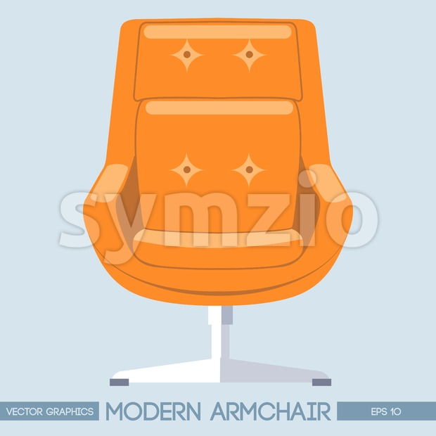 Orange modern armchair over light background. Digital vector image Stock Vector