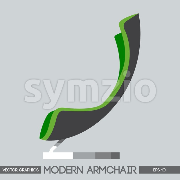Green and silver modern armchair over light background. Digital vector image Stock Vector