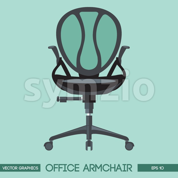 Black modern office armchair over green background. Digital vector image Stock Vector