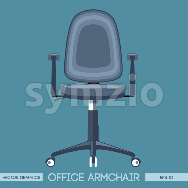 Silver modern office armchair over blue background. Digital vector image Stock Vector