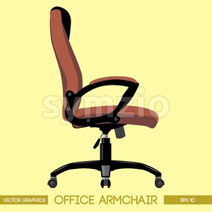 Black and brown modern office armchair over yellow background. Digital vector image Stock Vector