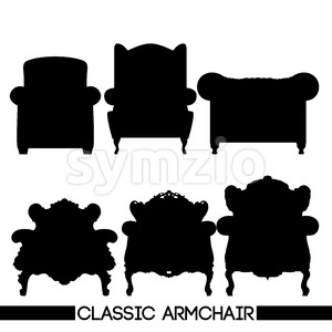Black classic armchair set, in outlines, over white background. Digital vector image Stock Vector