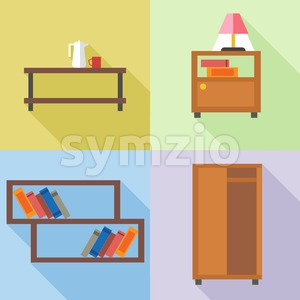 Furniture set, in outlines. Digital vector image Stock Vector
