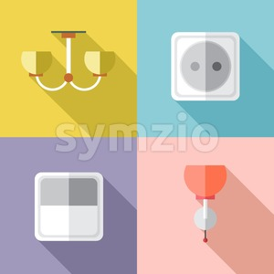 Furniture set with power outlet, in outlines. Digital vector image Stock Vector
