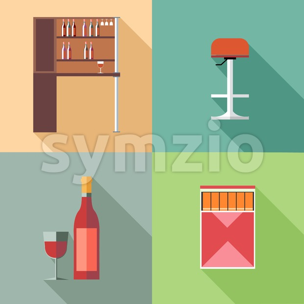 Furniture set with wine bottles and chair, in outlines. Digital vector image Stock Vector