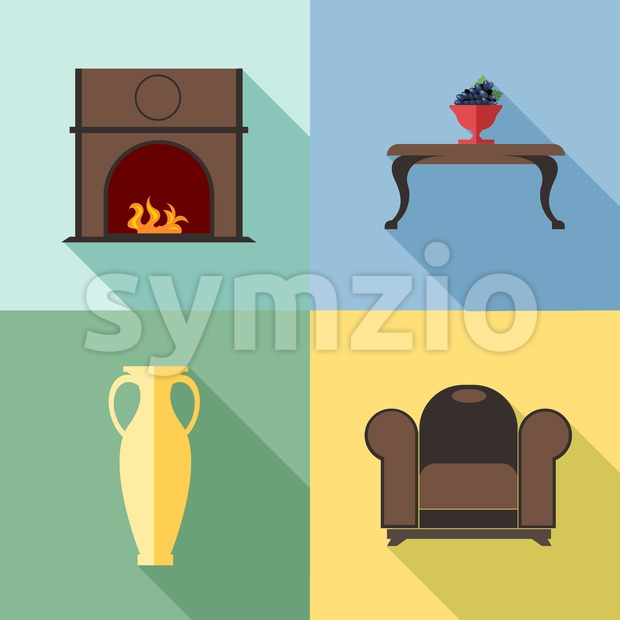 Furniture set with fireplace, in outlines. Digital vector image Stock Vector