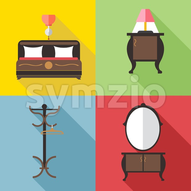 Furniture set with mirror, in outlines. Digital vector image Stock Vector