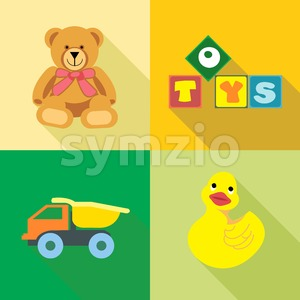 Kids toys icons set, in outlines. Digital vector image Stock Vector