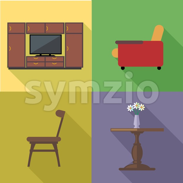 Home decoration icon set, flat style. Digital vector image Stock Vector