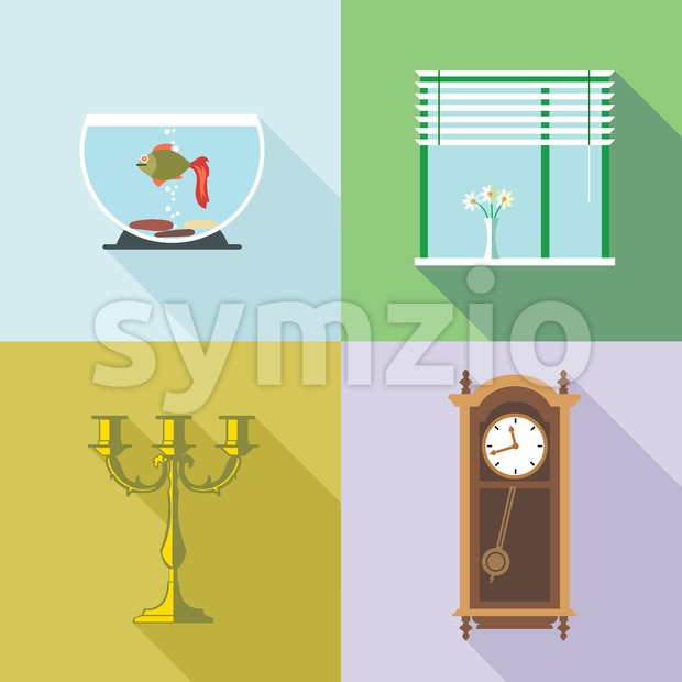 Home decorations set. Digital vector image Stock Vector