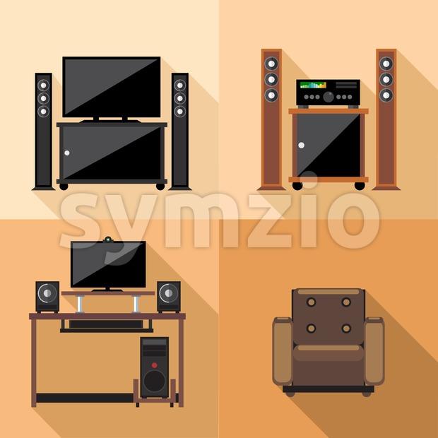 Home tv decoration set, flat style. Digital vector image Stock Vector