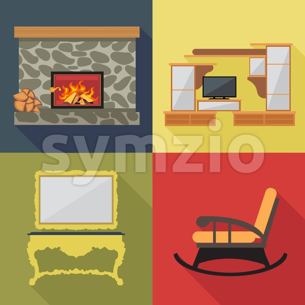 Fireplace home decoration icon set, flat style. Digital vector image